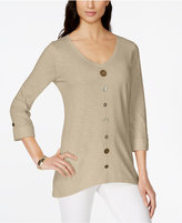 JM Collection Button-Trim V-Neck Top, Created for Macy's