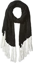 Nine West Women's Ribbed Asymmetrical Muffler with Pop Fringe