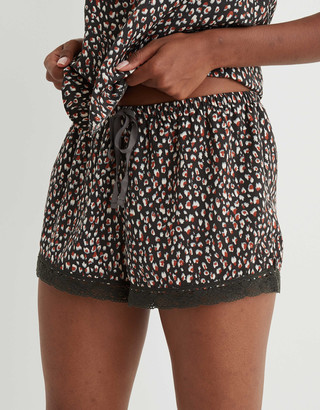 aerie Satin Lace Trim Sleep Boxer