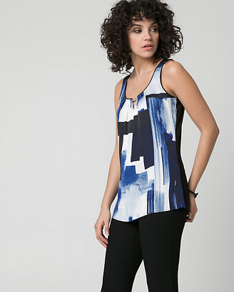 Le Château Abstract Print Satin & Knit Tank Top