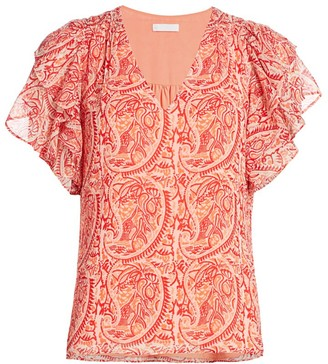 Ramy Brook Paisley Printed Flutter-Sleeve Top