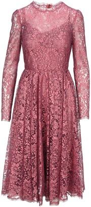 Dolce & Gabbana Chantilly Lame Lace Midi Dress