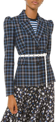 Michael Kors Plaid Puff-Sleeve Fitted Blazer