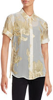 Equipment Slim Metallic Jacquard Silk Shirt
