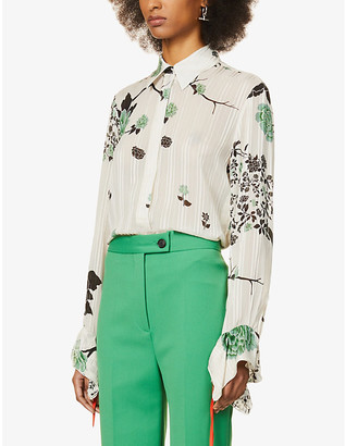 Victoria Victoria Beckham Floral-print frill-trimmed crepe shirt