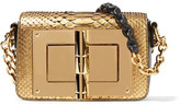 Tom Ford New Natalia Mini Leather-trimmed Metallic Python Shoulder Bag - Gold