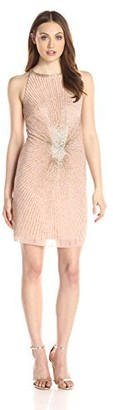 Adrianna Papell Women's Halter Fully Beaded Cocktail Dress
