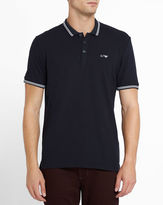 Armani Jeans Navy Cotton Pique Slim-Fit Polo Shirt with White Trim and Chest Logo