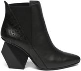 Black Geometric-Heel Leather Bootie