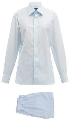 Emma Willis Shirt Style Cotton Pyjamas - Womens - Light Blue