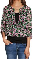Allegra K Woman Floral Prints 3/4 Sleeves Crossover Front Layered Blouse w cami