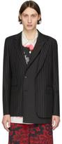 Alexander McQueen Black and White Wool Pinstripe Jacquard Blazer