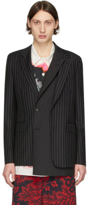 Alexander McQueen Black and White Wool Pinstripe Jacquard Blazer