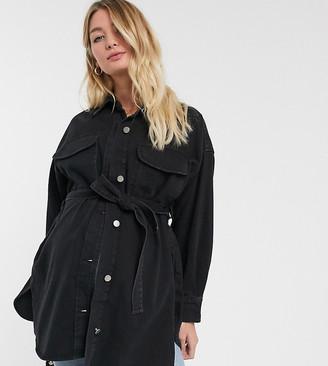 Asos DESIGN Maternity denim oversized shirt with belt
