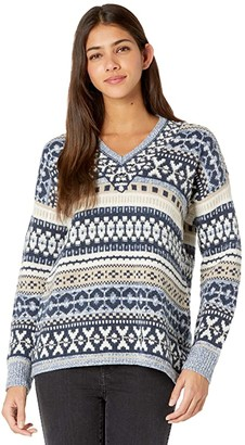 Madewell Fair Isle V-Neck Pullover (Heather Sky) Women's Clothing
