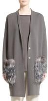 Fabiana Filippi Women's Wool, Silk & Cashmere Cardigan With Genuine Fox Fur & Ostrich Feather Trim
