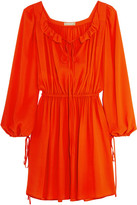 Michael Kors Ruffled Silk-crepe Mini Dress - Bright orange