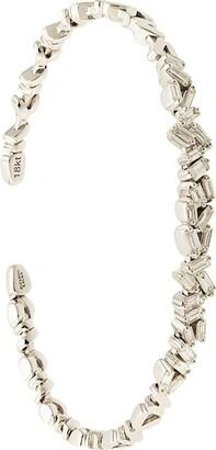 Suzanne Kalan 18kt white gold Uneven Fireworks diamond baguette cuff