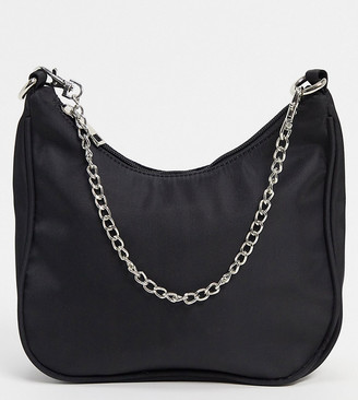 Glamorous Exclusive 90s shoulder bag in black nylon with chain strap