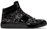 Jimmy Choo Black and Silver Velvet Belgravia High-top Sneakers