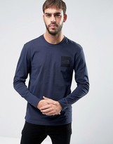 The North Face Fine Long Sleeve Top Square Logo in Navy