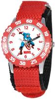 Marvel Kid's Captain America Stainless Steel Time Teacher Watch with Rotating Bezel - Red Strap
