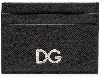 Dolce & Gabbana Black Diamante Logo Leather Card Holder