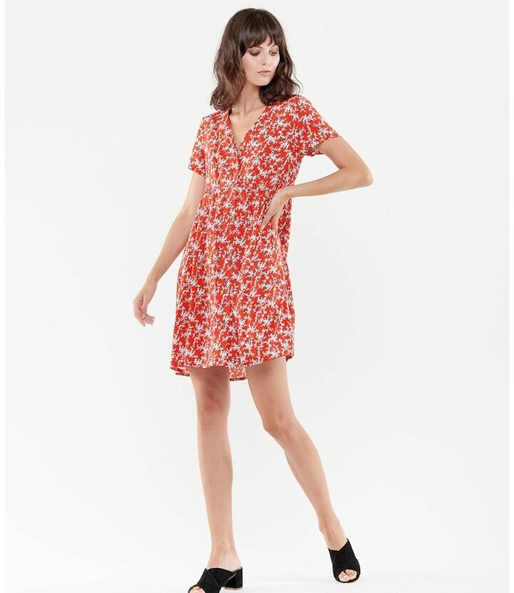 Thumbnail for your product : Le Temps Des Cerises Floral V-Neck Mini Dress with Short Sleeves