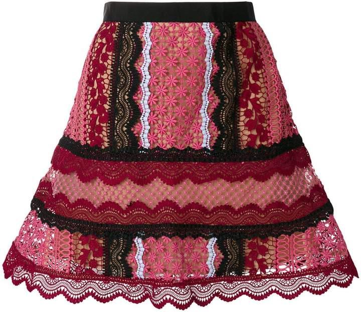 Self-Portrait A-line lace skirt