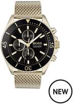 BOSS Boss Ocean Edition Black And Gold Detail Chronograph Dial Gold Mesh Stainless Steel Strap Mens Watch