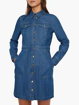 Warehouse Snap Front Mini Denim Dress, Dark Wash Denim