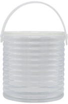 One Kings Lane Vintage Midcentury Ribbed Lucite Ice Bucket - clear/white