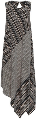 Donna Karan Asymmetric Paneled Striped Crepe Dress