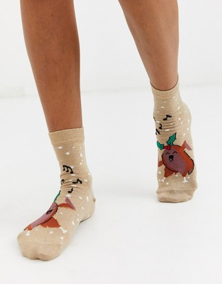 ASOS DESIGN Holidays dancing turkey glitter ankle socks
