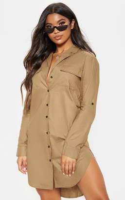 PrettyLittleThing Khaki Cargo Oversized Shirt Dress