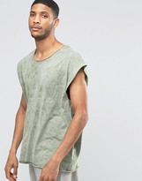 Asos Super Oversized T-Shirt With Scoop Neck In Acid Wash Green