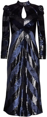 Rebecca Vallance Maison Lurex & Velvet Stripe Midi Dress