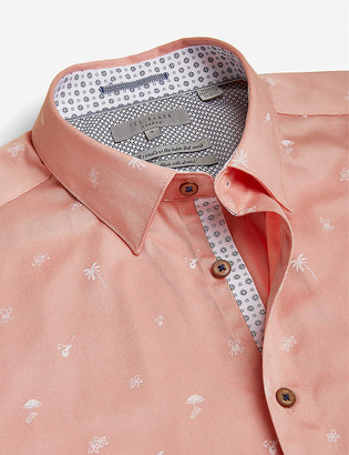 Ted Baker Tropical graphic-print stretch-cotton shirt