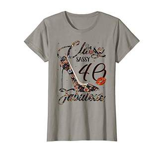 Womens Classy Sassy 40 Fabulous Flower High Heel 40th Birthday T-Shirt