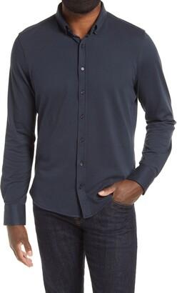 Stone Rose Pique Knit Performance Button-Down Shirt
