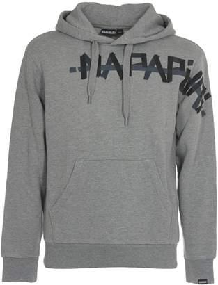 Napapijri Grey Hoody With Black Logo Print