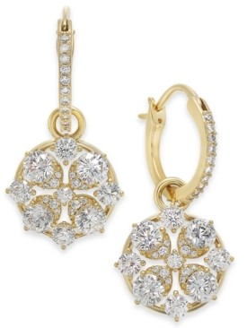 Eliot Danori Cubic Zirconia Cluster Charm Hoop Earrings, Created for Macy's