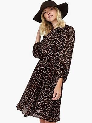Monsoon Marty Ditsy Print Flared Dress, Black/Multi