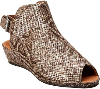 Gentle Souls By Kenneth Cole Lyla Snake-Embossed Leather Wedge Sandal