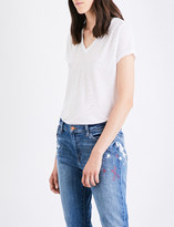 J Brand Janis jersey and linen-blend T-shirt