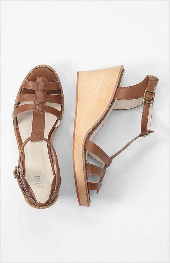 J. Jill T-strap wooden wedge sandals