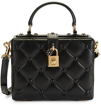 Dolce & Gabbana Diamond-Quilted Leather Top Handle Box Bag