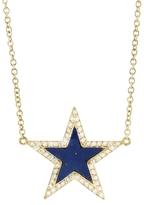 Jennifer Meyer Lapis Inlay Star Necklace with Diamonds