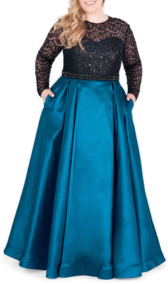 Mac Duggal Plus Size Long-Sleeve Satin Ball Gown with Sequin Bodice
