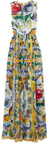 Dolce & Gabbana Printed Silk Gown - Yellow